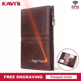 License Holders Australia - Kavis Rfid Genuine Leather Passport Cover Id Card Holder Travel Credit Wallet Men Purse Driving License Bag Male Portomonee Y19052202
