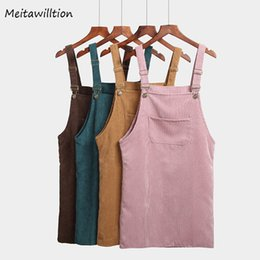 Suspender Vest Skirt Australia - Meitawilltion Summer Women Skirts 2019 Casual Corduroy Suspender Overall Vest Jumpsuit Braces Skirt Lady Preppy Style Skirt T19053107