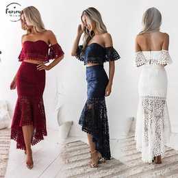 ElEgant skirts suits online shopping - Sexy Party Suit Elegant Two Piece Sets Party Outfits White Lace Bodycon Strapless Crop Top Pencil De Vestidos Skirt Fiesta
