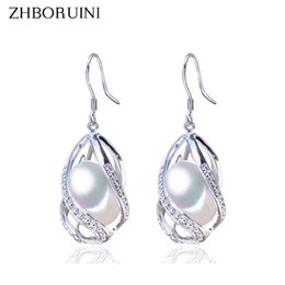 Freshwater pearl drop earrings online shopping - ZHBORUINI Pearl Earrings Water Drop Beads Earring Natural Freshwater Pearl Sterling Silver Jewelry For Women Cage