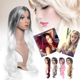 Silver wavy wig online shopping - Fashion Long Curly Wavy Hair Full Wig Synthetic Hair Ombre Adjustment Party Cosplay Wigs For Women High Temperature Fibre