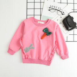 rabbit sweatshirt girl NZ - Spring And Autumn Baby Girls Clothing Cute Cartoon Long-sleeved Cartoon Rabbit Radish Hooded Sweatshirt Baby Girls Clothes Kids Clothing