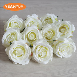 White Rose Arrangements Australia - 10colors 100pcs 8CM Aritificial Silk Rose flower heads DIY wedding wall Arch studio shooting props flower arrangement home decor
