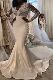 $enCountryForm.capitalKeyWord NZ - V Neck Long Sleeves Satin Lace Bodice Mermaid Wedding Dresses With Court Train vestidos de novia con encaje