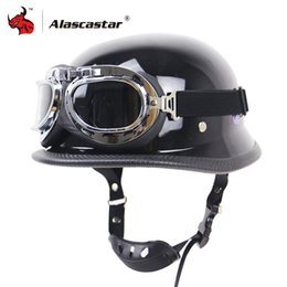 $enCountryForm.capitalKeyWord NZ - Zombies Racing Vintage German Motorcycle Helmet Half Face Retro Moto Helmet Casco Casque Black Scooter Helmets With Goggles DOT