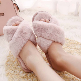 home winter flip flop Australia - Winter Flat soft Fluffy Faux Fur home slipper woman shoes new arrival Flat Slipper Flip Flop Sandals Shoes woman solid