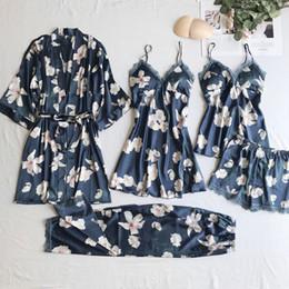 b95da71792 Women Satin Sleepwear 5 Pieces Pyjamas Sexy Lace Pajamas Sleep Lounge  Pijama Silk Night Home Clothing Pajama Suit