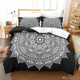 Twin Black Bedding Sets Australia - Home 3 Piece Duvet Cover Set Printed Stripe Twin Queen King Bedding Set Microfiber Fabric Simple Style Black Mandala Duvet Covers