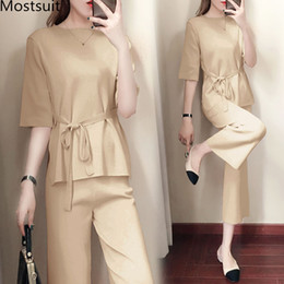 korean office suits Canada - Knitted Two Piece Sets Women Short Sleeve Lace-up Tunics And Wide Leg Pants Sets Suits Office Elegant Korean Casual Women's