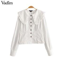 0130e72932f51b Vadim women cute ruffled white blouse peter pan collar long sleeve shirts  female cute stylish casual top blusas LA915