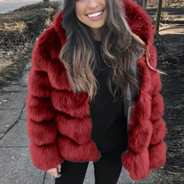 short mink fur NZ - Faux Fur Jacket Women Hooded Faux Mink Winter Fashion short Artifical Fox Fur Woman Warm Thick Outerwear Jacket Coats hoodie 9.6 T191107