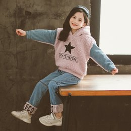 Wholesale cowboy clothes set resale online – HereNice Children s Kids Baby Girls Fall Spring Winter Hooded Star Cowboy Cashmere Two piece Set Clothes Clothing Outfit