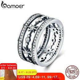 $enCountryForm.capitalKeyWord Australia - Bamoer High Quality 100% 925 Sterling Silver Cocktail Sparkling Star Female Rings For Women Sterling Silver Jewelry Anel Scr258 J190627