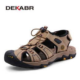 $enCountryForm.capitalKeyWord NZ - Dekabr Summer Style Genuine Leather Beach Casual Male Sandals Breathable For Men Walking Brand High Quality Comfortable Shoes MX190720