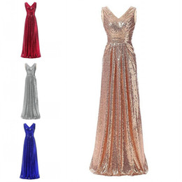 $enCountryForm.capitalKeyWord Australia - Rose Gold Sequined Long Bridesmaid Dresses Deep V neck Empire Pleated Real Photo Backless Bridesmaids Party Prom Dress Gowns Junior Women