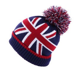 Wholesale Winter Beanie Hat Warm Crochet Plush Baggy Wool Knitted Pompom Skullies Ball Stripe UK British Flag Slouchy Velvet Snow Ski Cap