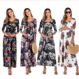dresses for photography Australia - Maternity Sexy Dresses Womens Pregnant Deep V-neck Floral Print Long Dress Pregnancy Dress Photography Fashion Clothes For Women
