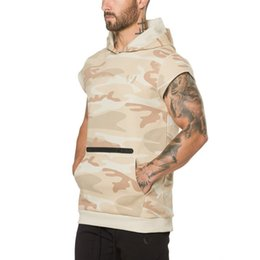 14cc155ffdc04 2019 Men Gyms Hoodies Cotton Men Sleeveless Sporting Workout Fitness  Camouflage Big Pocket Casual Fashion Hooded Sweatshirt Tops