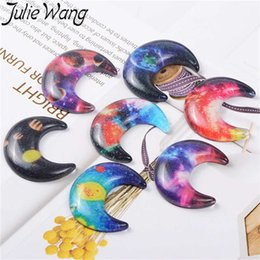 $enCountryForm.capitalKeyWord Australia - Julie Wang 10PCS Mixed Resin Moon Galaxy Pattern Charms Crescent Slime Pendants Jewelry Making Accessory Home Table Decor Props