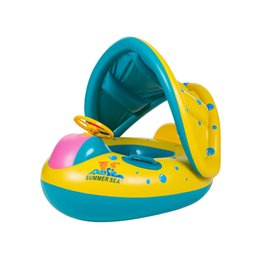 Baby Car Seat Toys Australia - Safety Baby Infant Swimming Float Inflatable Adjustable Sunshade Swimming Ring Children Seat Boat With Pump Water Fun Toys