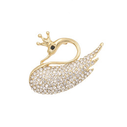 $enCountryForm.capitalKeyWord UK - baiduqiandu Crystal Crown Swan Brooches For Women Elegant Pins Rhinestone Dress Corsage Party Clothing Jewelry Accessories
