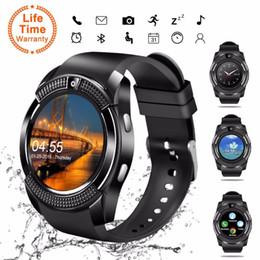 Bluetooth Smart Watch Sim Australia - V8 Smart Watch Bluetooth Touch Screen Android Waterproof Sport Men Women Smartwatched with Camera SIM Card Slot PK DZ09 GT08 A1
