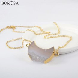 agate slice druzy UK - BOROSA 5 10Pcs 18'' Crescent Natural Agate Druzy Connector Gold Pendant Necklace Gold Natural Stone Slice Druzy Necklace G1964-N