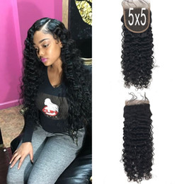 Chinese  5x5 Deep Wave Lace Closure Free Part Natural Black 8-24inch In Stock Unprocessed 100% Mongolian Virgin Human Hair G-EASY manufacturers