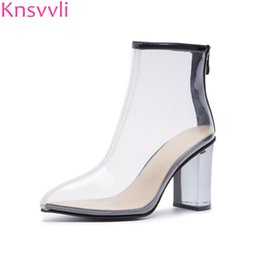 503eb04e0b4 Knsvvli 2019 new clear high heel shoes women pointed toe back zipper pvc  crystal chunky heels ankle boots women party shoes sexy
