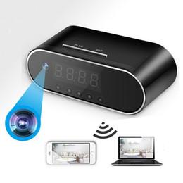 Toptan satış HD 1080P Saat Kamera Kablosuz WIFI mikro Kamera IR Gece Çalar Kamera Dijital Saat video küçük Kamera Mini DVR gizli tf kartı