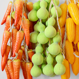 Wholesale vegetables corn for sale – halloween Artificial Foam Vegetables Flowers Chili Potato Garlic Corn Tomatoes fruit Fake Plants Wall Hanging Home Decoration Pendant Kitchen decor