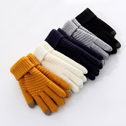 Korean gloves online shopping - Gloves Female Winter Touch Screen Thick Warm plus Velvet Knitted Fingers Yarn Korean style Students Couples Cycling Manufacturer