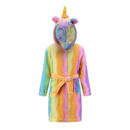 $enCountryForm.capitalKeyWord UK - Cute Baby Bathrobes For Girls Pajamas Kids Rainbow Unicorn Pattern Hooded Beach Towel Boys Bath Robe Sleepwear Children Clothing J190520