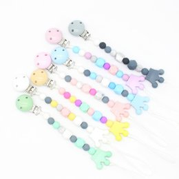 Dummy Clips Wholesalers Australia - Silicone Baby Pacifier Clips Pacifier Infant Nipple Appease Soother Chain Clips Dummy Holder Baby Bite Bead