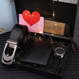 $enCountryForm.capitalKeyWord Australia - Man Watch Gift Set With Box Leather Belt Men Wallets Sunglasses Mens Watches Luxury Quartz Wrist Watch Set For Father's Day gift