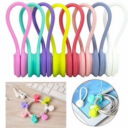 cable winder earphone cord holder Australia - Magnet Earphone Cable Winder Wrap for Wire Keychain Silicone Clip Cord Holder Organizer Clip Ties Fashion Accessories LJA2060