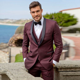 cheap blazers Canada - Cheap Burgundy One Button Mens Prom Suits Shawl Lapel Wedding Suits For Men Tuxedos Three Pieces Blazers Jacket + Pants + Vest