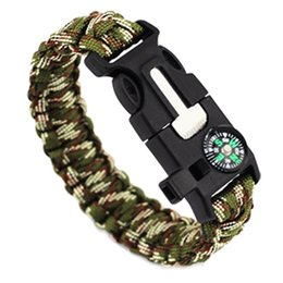 whistle bracelets UK - Paracord Rope 550 Camping Survival Kit Tools Paracord Braided Rope Parachute Wristband Rescue Bracelet Whistle Compass