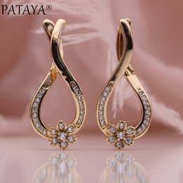 purple chandelier earrings UK - PATAYA New Unique Flower Dangle Earrings 585 Rose Gold Women Party Fashion Jewelry Micro-wax Inlay Natural Zircon Long Earrings