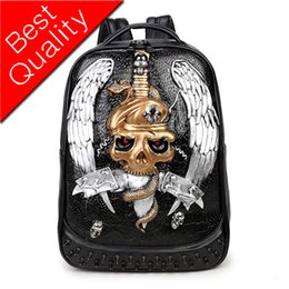 Design Pc Games Australia - Men Backpack 3D Relief Design Leather Teenager Backpacks Game Anime Halloween Skull Punk Vintage Laptop Bagpack Sac A Dos