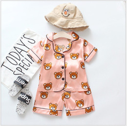 Boy wearing pajamas online shopping - 2019 New Summer Children s Pajamas Sets Boys Girls Cartoon Bear Home Wear Kids Two Piece Set Short Sleeved Suit Child Home Clothes