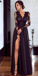 Women t shirts silk online shopping - 2019 New Sexy Lace Prom Dresses Illusion Long Sleeves Side Split Women Party Formal Evening Gowns Custom Arabic