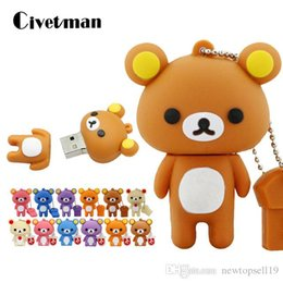 128gb Flash Drive Australia - Fashion New Lovely USB Flash Drive Rilakkuma Bear Style Pen Drive 4GB 8GB 16GB 32GB 64GB 128GB Pendrive Memory Stick Disk Gifts
