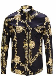 $enCountryForm.capitalKeyWord Australia - Fashion Designer Golden Chain Print Vintage Mens Shirts Designer Lapel Neck Long Sleeve Luxury Tops Men Casual Tees