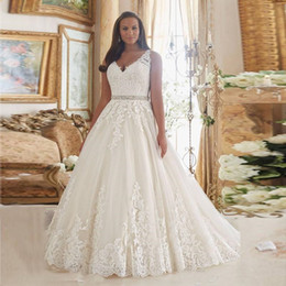Covered baCk wedding dress line online shopping - Plus Size Holiday Wedding Dresses with Beaded Crystal Belt V neck Sheer Back Lace Applique Garden Wedding Gown Vestido De Noiva