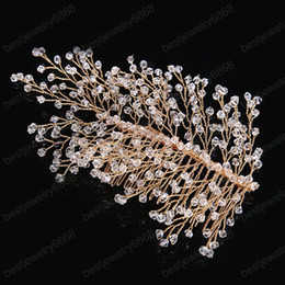 jewelry wedding head comb Australia - Gold Crystal Beads Hair Combs Headpiece Tiaras de Noiva Bride Hair Comb Head Jewelry Wedding Hair Accessories for Women