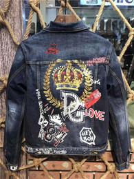 Giacca da uomo in denim di alta qualità con motivo a lettera 3d, giacca da uomo autunno e inverno on Sale