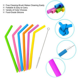 $enCountryForm.capitalKeyWord Australia - Reusable Silicone Drinking Straws Set Long Flexible Straws With Cleaning Brushes For 20 Oz Tumbler Bar Party Straws