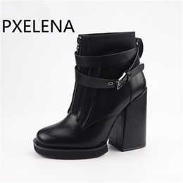 e9a0dfa2cd98f Discount punk gothic boots - PXELENA Vintage Rome Motorycle Boots Women  Thick Square High Heel Front