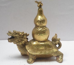 $enCountryForm.capitalKeyWord Australia - Metal Crafts Chinese Brass Carved Dragon turtle Statue , Feng Shui Gourd Figurine Antique crafts Copper sculpture home
